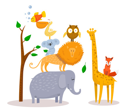 Cute funny cartoon animals Lion, giraffe, elephant, fox, owl. Vettoriali