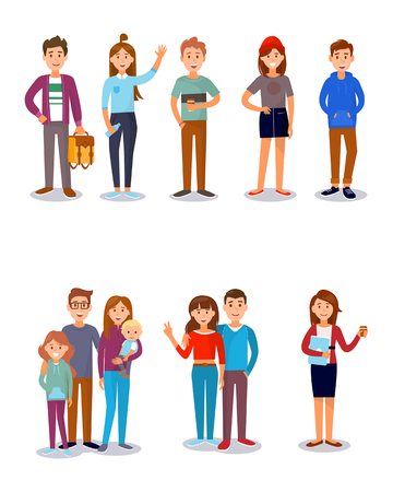 Students, friends, family, kids, parents vector illustration. Banco de Imagens - 98115401