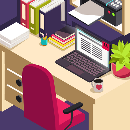 Workplace office work, objects on table isometric with computer and office equipment. Çizim