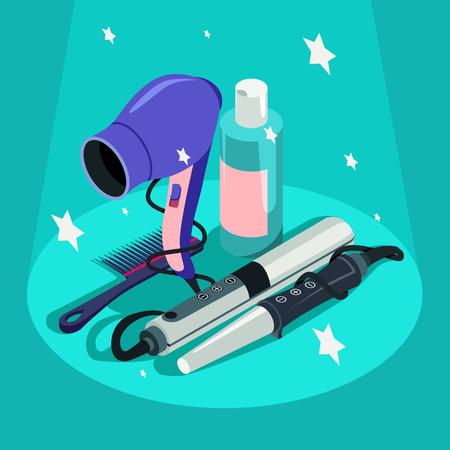 Set of hairdressing styling equipment hair dryer, curler illustration.