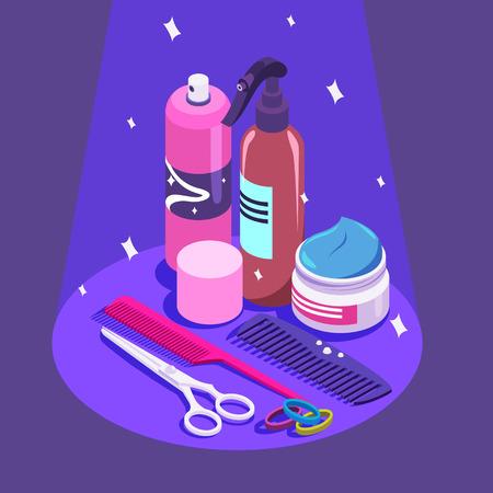 Set of styling equipment cream, spray, shampoo, scissors illustration. Illustration