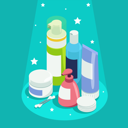Set of face and body care products illustration.
