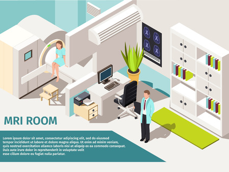 Medicine concept MRI scan and diagnostics patient lying scanner machine in clinic. Ilustracja