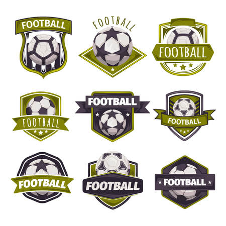 Set of icons, emblems on the theme of soccer or football.