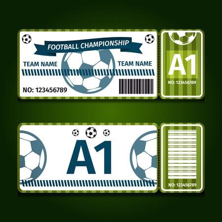 Football, soccer ticket card design vector illustration. Stok Fotoğraf - 98115865