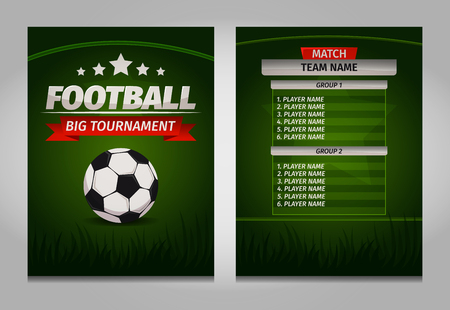 Soccer football champions final scoreboard table template vector.