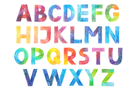 Sans Serif Gothic Grotesk alphabet drawing in color pencils