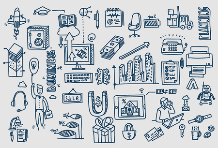 Business doodles Hand drawn vector elements and symbols