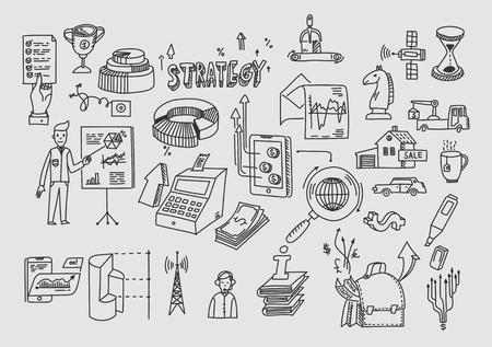 Hand draw doodle elements. Business finance analytics earnings Stock Illustratie