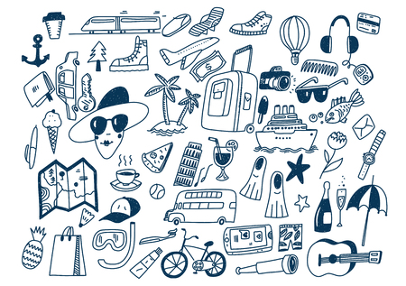 Hand draw doodle travel symbols Tourism and traveling