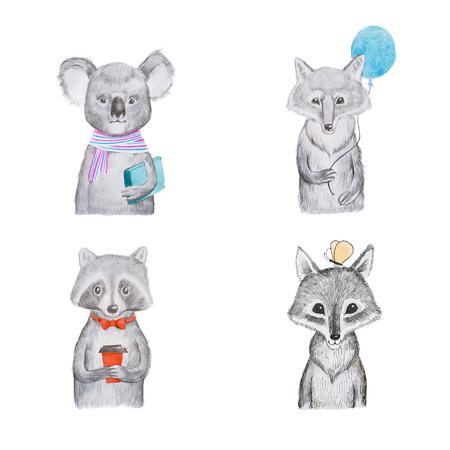 Portrait of cartoon aminals kids koala wolf and raccoon.