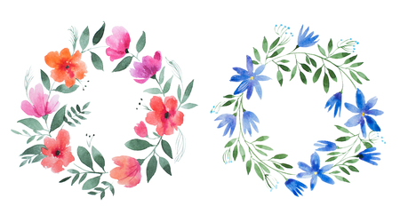Aquarelle painting of floral wreath made of wild flowers isolated on white background Imagens