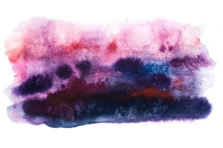 Abstract watercolor aquarelle hand drawn art paint splatter stain pink blue purple colors.