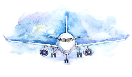 Passengers airplane flying. Traveling and transport business Stock Photo