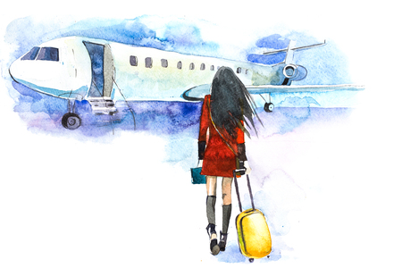 Woman traveler with luggage going to plane. Girl tourist passager walking in to airplane at airport 스톡 콘텐츠