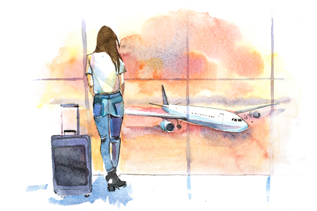 Travel. Woman traveler in airport looking at aircraft through glass window. Girl tourist waiting airplane departure.