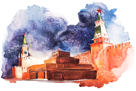 Lenin Mausoleum in Moscow on Red Square Russia Watercolor 写真素材