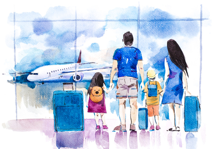 Young family travelling in international airport standing near window. Banque d'images