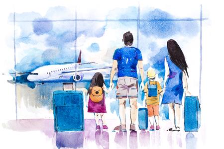 Jong gezin reizen in internationale luchthaven permanent in de buurt van venster. Stockfoto