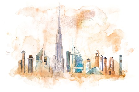 Skyline of Dubai Cityscape landmark skyline. Watercolor illustration