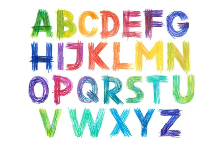 Colored pencils alphabet font type handwritten hand draw abc letters Фото со стока