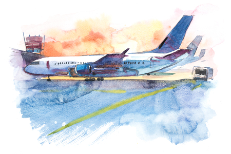 Airplane is at the airport on the take-off field. Watercolor illustration Фото со стока