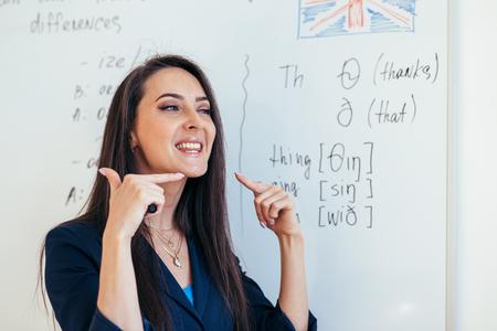 Englischunterricht Der Lehrer zeigt, wie man die Töne ausspricht Standard-Bild
