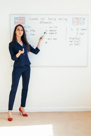 Junge Geschäftsfrau vor Whiteboard Standard-Bild