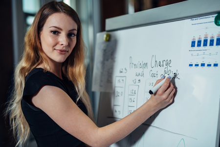 Portrait of young female leader writing on whiteboard explaining new strategies during the conference in an office