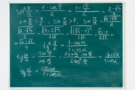 Maths formulas written by white chalk on the blackboard.