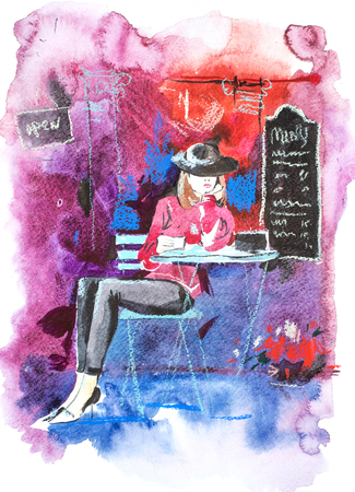 Woman sits at table of a street cafe Watercolor illustration Banco de Imagens