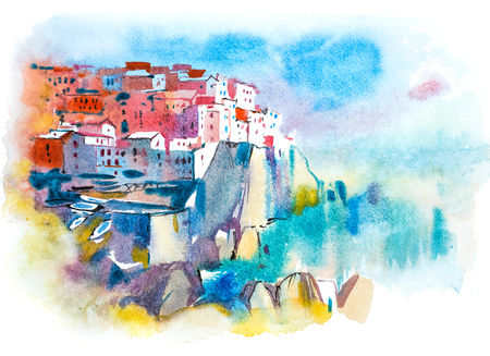 Picturesque city landscape. Summer resort town Watercolor illustration.