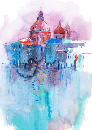 Watercolor illustration of city town cityscape architecture. Reklamní fotografie - 105389098