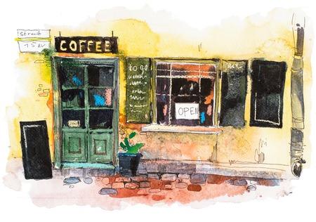 Urban scenic landscape street cafe Watercolor illustration Standard-Bild - 105389101