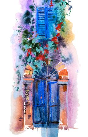 Facade of house. Door, window, architecture Watercolor illustration Stockfoto