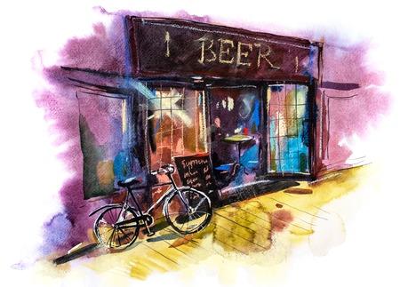 Beer bar or pub Watercolor illustration Urban scenic landscape.