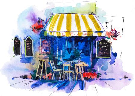 Urban scenic landscape street cafe Watercolor illustration Standard-Bild - 105389106