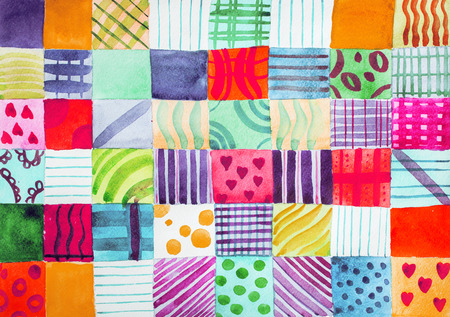 Edredón de patchwork. Conjunto de estampados coloridos patrones acuarela dibujo Foto de archivo
