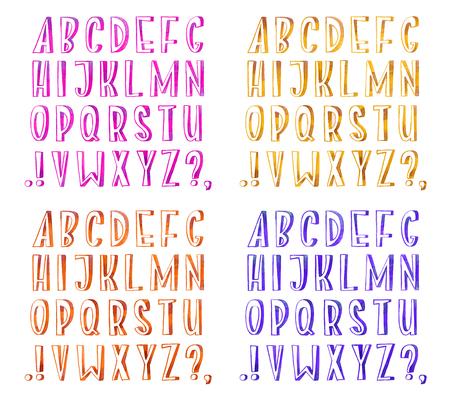 Colorful watercolor aquarelle font type handwritten hand draw abc alphabet letters Standard-Bild - 105389111