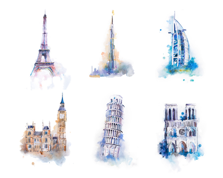 Watercolor drawing most famous buildings, architecture, sights of different countries. Westminster Palace, Big Ben, tower of Pisa, Notre-dame, Eiffel tower, Burj Khalifa, Burj Al Arab.