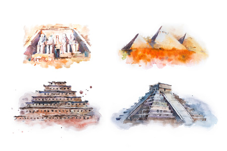 Watercolor drawing most famous buildings, architecture, sights of different countries. Abu Simbel, Great Temple of Ramesses, Giza Pyramids, Queens Pyramids, Chichen Itza, Temple of Kukulkan pyramid of niches.