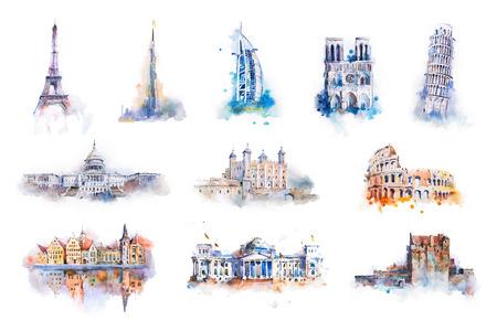 Aquarel tekenen van de beroemdste gebouwen, architectuur, bezienswaardigheden van Europese en andere landen