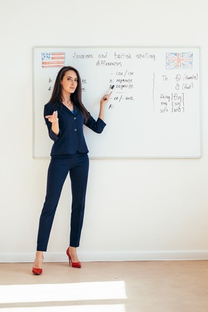 Female teacher giving a lecture showing presentation on whiteboard
