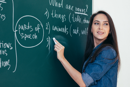English courses. Language school. Teacher writing on chalkboard. Stock Photo
