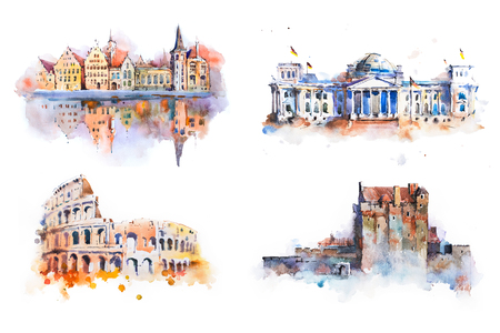 Watercolor drawing most famous buildings, architecture, sights of European countries. Archivio Fotografico