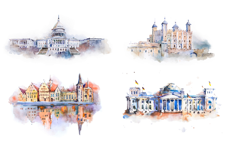 Watercolor drawing most famous buildings, architecture, sights of European countries. Stockfoto