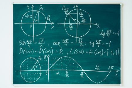 School math lesson. Trigonometry. Chalkboard Function graphs.