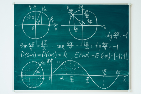 School math lesson. Trigonometry. Chalkboard Function graphs. Imagens - 106677674