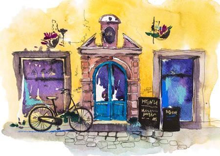 Exterior de la terraza de la cafetería con encanto vintage Restaurante retro europeo Ilustración acuarela.