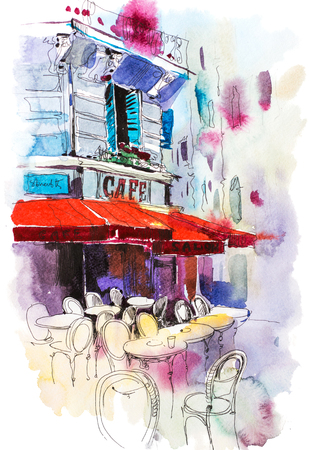 Cafe terrace Old street European restaurant Watercolor illustration. Фото со стока
